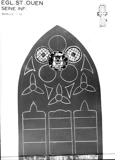 Photomontage de vitrail : baie 36, Vie de saint André, partie supérieure