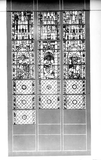 Photomontage de vitrail : baie 36, Vie de saint André, partie inférieure