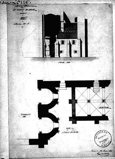 Plan d'architecte et élévations d'un projet de restauration du croisillon sud du petit transept
