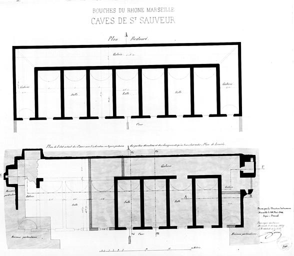 Plan des caves en 1849, copie en 1857, état avant et après restauration