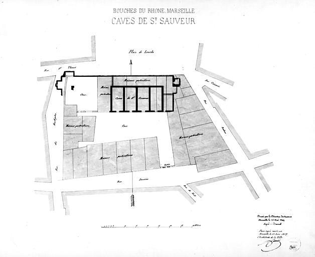 Plan des caves en 1849, copie en 1857 : ensemble, état avant et après restauration
