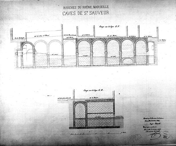 Coupe des caves en 1849, copie en 1857