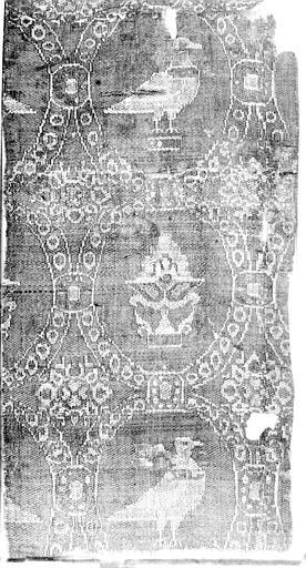 Fragment de tissu : décoration de médaillons entourant des oiseaux