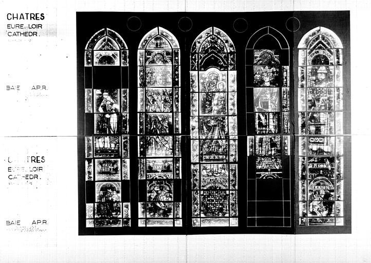 Photomontage de vitrail : rose nord, partie inférieure