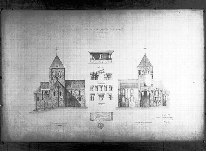 Plan d'architecte de la façade latérale et coupe longitudinale
