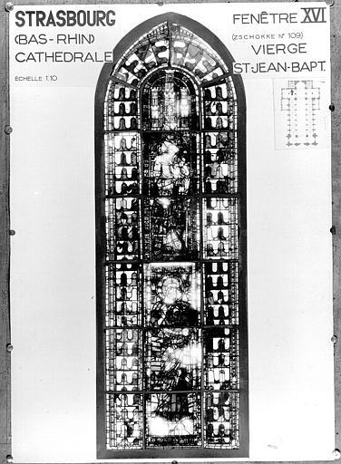 Photomontage de vitrail : baie XVI, Vierge et saint Jean-Baptiste