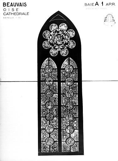 Photomontage de vitrail : baie A1, Légende de saint Martin, état après restauration