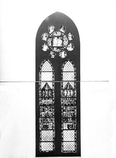 Photomontage de vitrail : baie A11, Crucifixion et Ascension, état avant restauration
