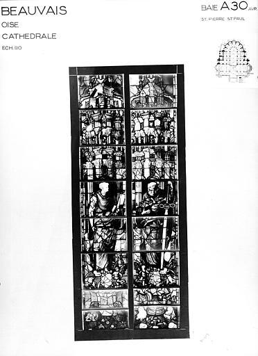 Photomontage de vitrail : baie A30, saint Pierre et saint Paul, état avant restauration