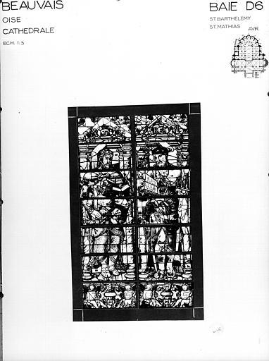 Photomontage de vitrail : baie D6, saint Barthelémy et saint Mathias, état avant restauration