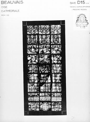 Photomontage de vitrail : baie D15, registre médian, saint Cephalophore, état avant restauration