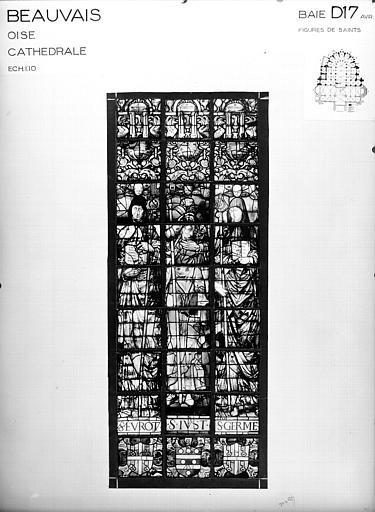 Photomontage de vitrail : baie D17, saint Evot, saint Just et saint Germain, état avant restauration