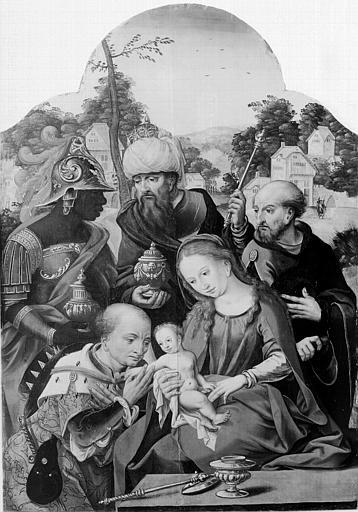 Panneau peint situé dans la chapelle : Adoration des Mages