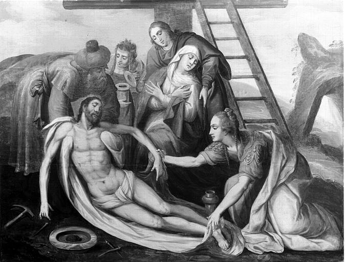 Panneau peint situé dans la chapelle : Déposition de Croix