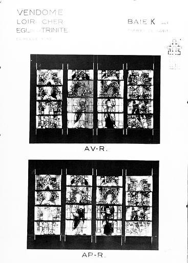 Photomontage de vitrail : baie K, figures de saints