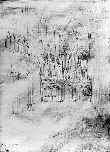 Dessin au crayon représentant la nef et le jubé