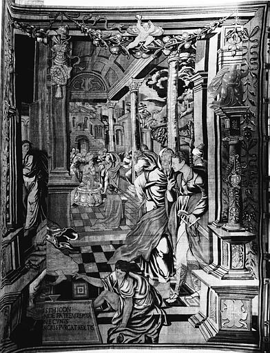 Tapisserie : un Baptême ou Saint Etienne baptisant son père ? ou Baptême de Jésus-Christ