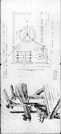 Propriété de Monsieur Cesbron : croquis d'un pressoir et plan de la cour du Loup-Vert
