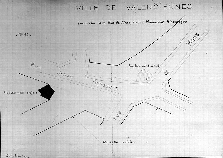 Plan d'architecte du quartier de la ville avec projet de déplacement