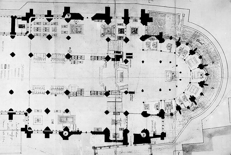 Plan avec projet d'aménagement des tombeaux, deuxième projet