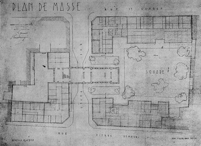 Plan de masse entre la rue Pierre-Demours et la rue de Saint-Sénoch