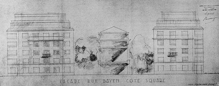 Elévation, façades rue Bayen côté square