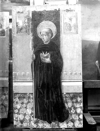 Panneau peint : saint Benoît, état avant restauration