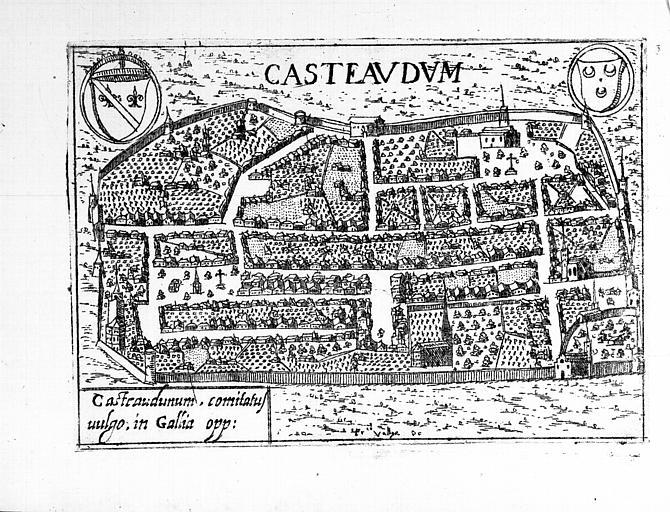 Plan perspectif de l'ensemble de la cité, gravure