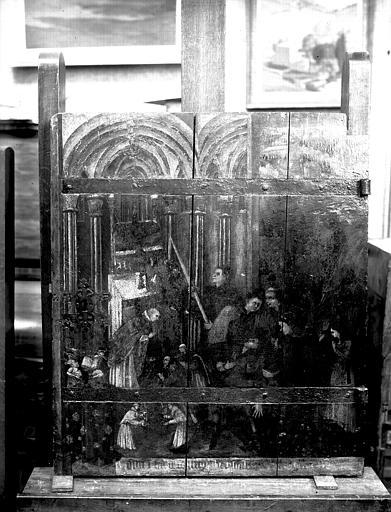 Panneau peint formant vantail de porte, état après restauration