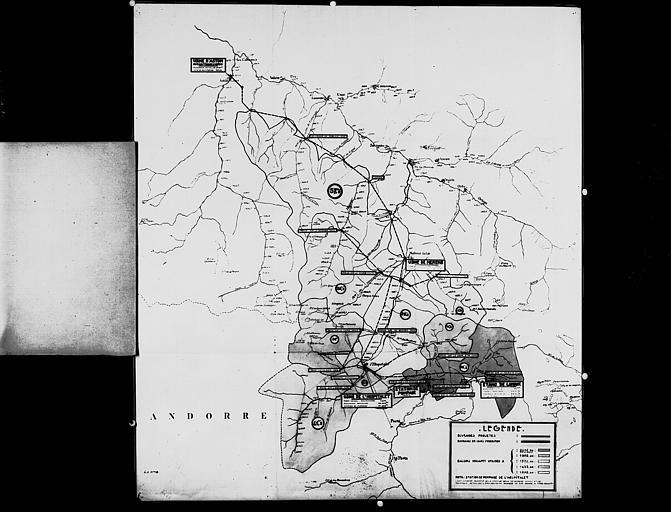 Carte de l'aménagement hydrauliqe des Pyrénées-Orientales et Ariège : de l'usine de l'Hospitalet à l'usine d'Aston, via l'usine de Mérens