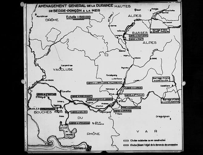 Carte de l'aménagement général de la Durance, de Serre-Ponson à la mer