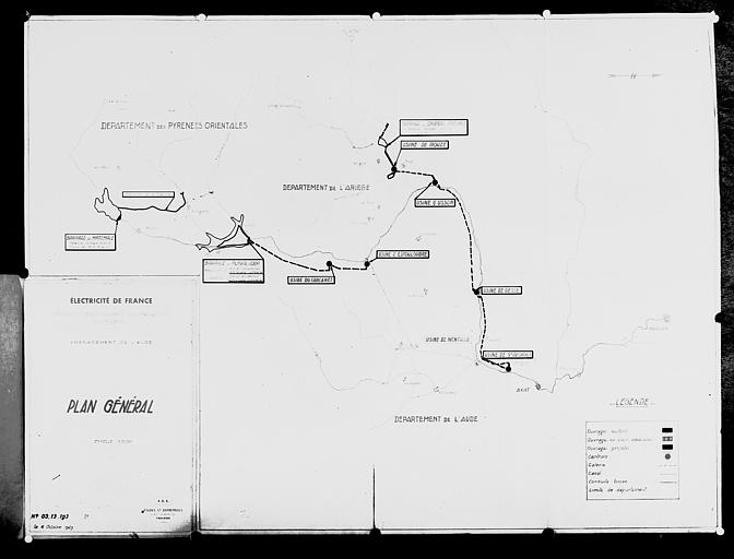 Carte de l'équipement hydraulique des Pyrénées