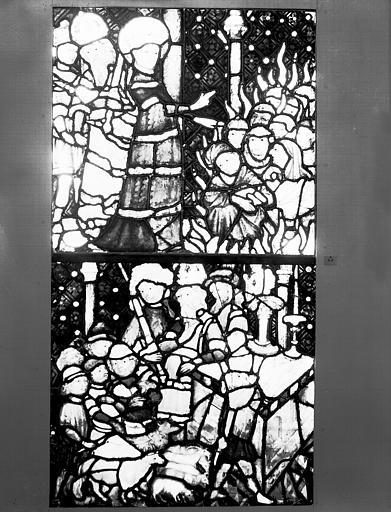 Vitrail : deux scènes de la légende de sainte Catherine