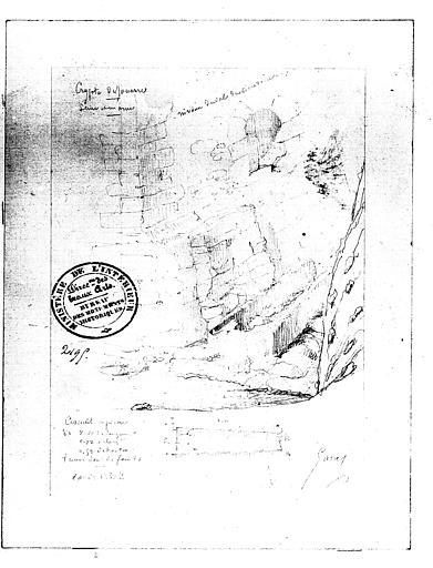 Crypte : dessin au crayon, position d'un cercueil au pied des fondations