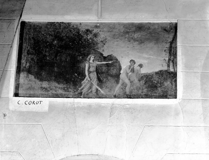 Peinture sur toile marouflée : Adam et Eve chassés du Paradis Terrestre