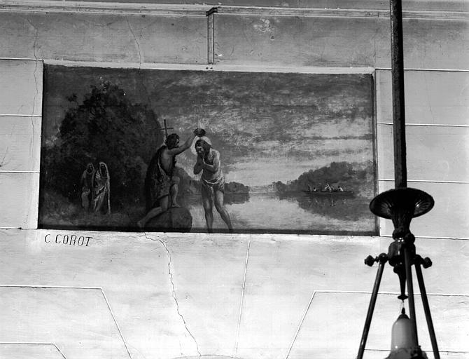 Peinture sur toile marouflée : Baptême du Christ