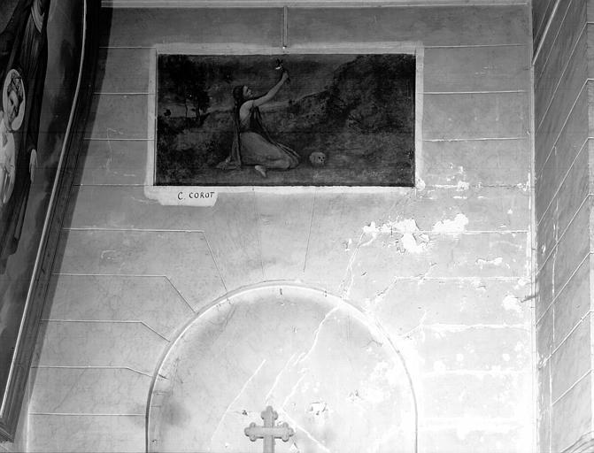 Peinture sur toile marouflée : sainte Madeleine