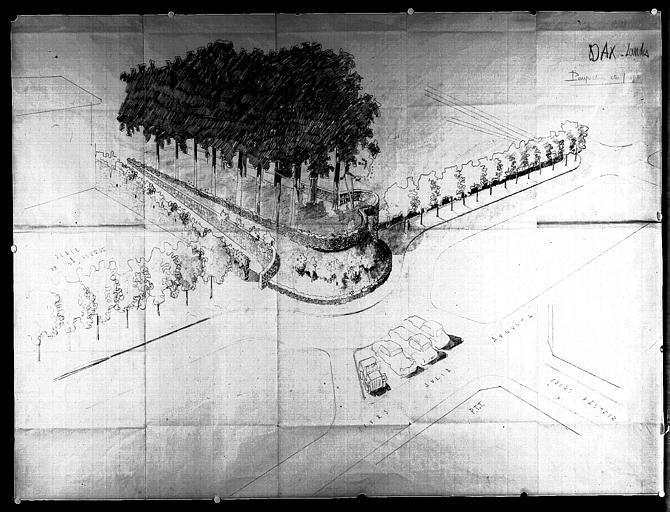 Perspective de l'escalier des remparts et aménagement de deux esplanades