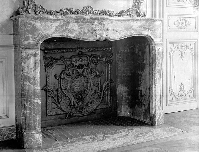 Premier étage : cheminée du petit salon Rose sur cour d'honneur
