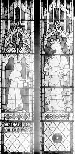 Vitrail, deux lancettes : Raoul de Ferrières et la Vierge à l'Enfant