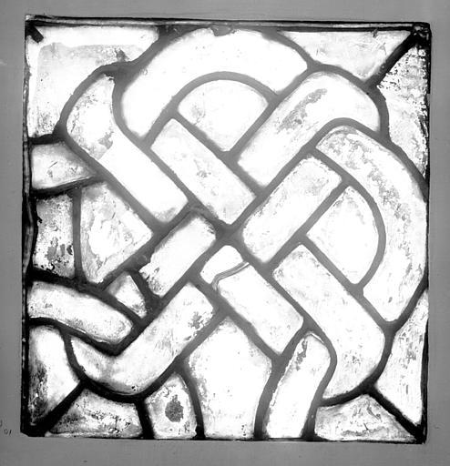Vitrail, grisaille cistercienne : panneau rectangulaire