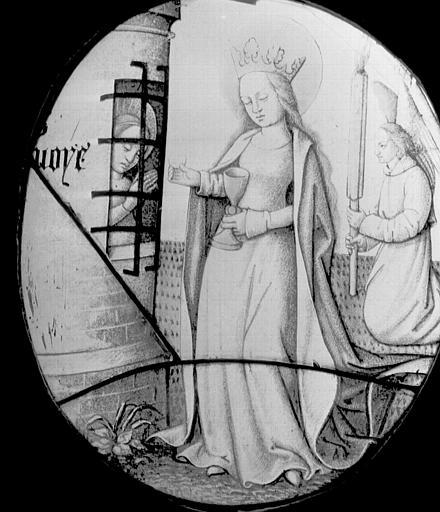 Vitrail : Communion de saint Avoye