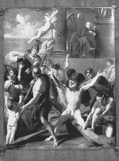 Peinture sur toile projet pour le May de Notre-Dame : Martyre de saint André