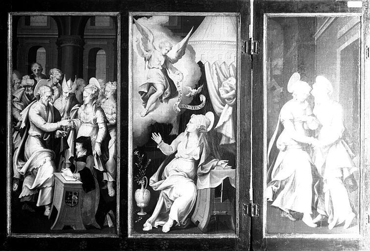 Retable en bois peint : Mariage de la Vierge, Annonciation et Visitation