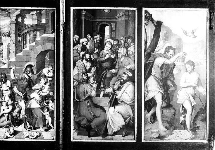 Retable en bois peint : Massacre des Innocents, Jésus au milieu des Docteurs, Baptême de Jésus