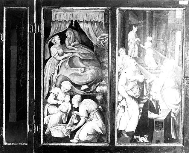 Retable en bois peint : Nativité de la Vierge et Présentation de la Vierge au Temple