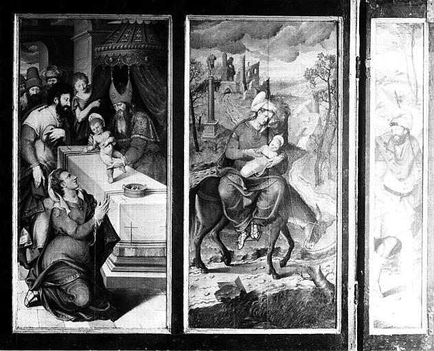 Retable en bois peint : Présentation au Temple ou Circoncision et Fuite en Egypte