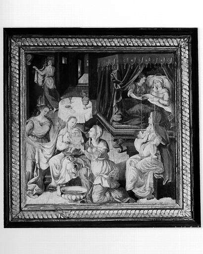 Retable en bois peint, volet gauche : Nativité de la Vierge