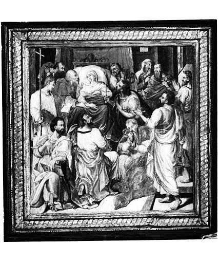 Retable en bois peint, volet droit : Dormition de la Vierge