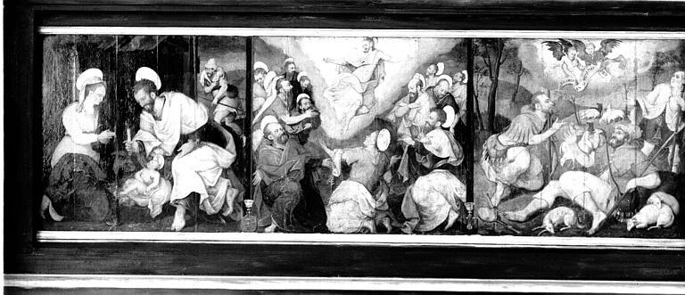 Retable en bois peint, fond de table : Nativité, Ascension et Annonce aux bergers